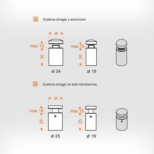 Tablice informacyjne ścienne - dystansowe 2